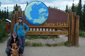 Lindsay, Clay and Hunter at the Arctic Circle