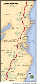 Thru-hike map of the Appalachian Trail