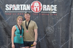 Lindsay and Clay after the Spartan Race in Cambridge UK