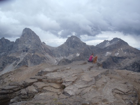 Lindsay and the backside of the Tetons from 11k'
