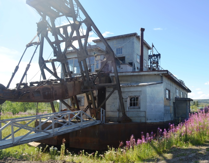A historic Yukon gold dredge from the 1900s