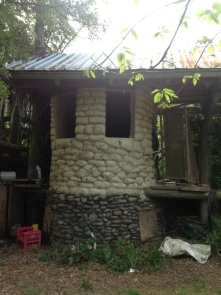 The composting outdoors toilet (no flush toilets here!)