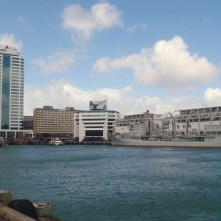 Auckland Harbor with a Chinese Navy ship
