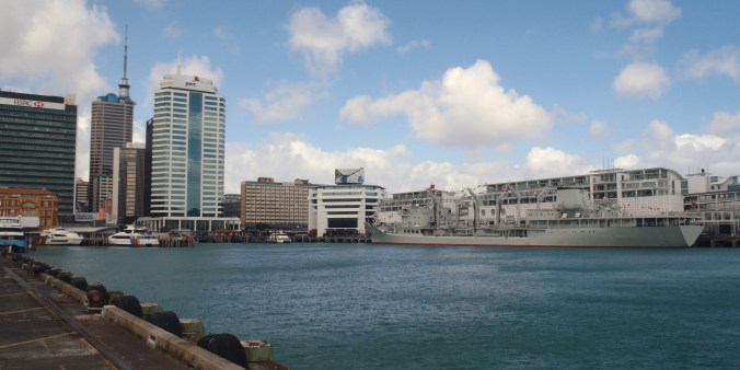 Auckland Harbor with a visiting Chinese Navy ship