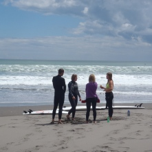 Lindsay and the three others from the hostel that went surfing with us in Raglan
