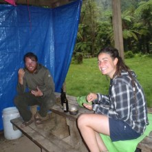 Emilie and Clay staying warm and dry during the monsoon.