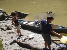 Emilie and Clay getting ready to launch the canoe on Day 4