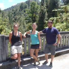 "The three of us pose for a picture on the ""bridge to nowhere""."