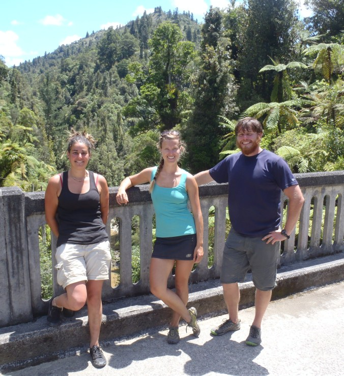 """The three of us pose for a picture on the """"bridge to nowhere""""."""