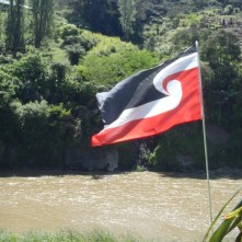 The Mauri Flag flying above the Whanganui River.