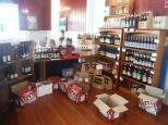 The inside of the retail shop/cafe. We stocked shelves!