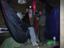 We had torrential, cyclone type rain one night so we all hunkered up in the little cooking shelter at the campground.