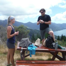 Taking a lunch break during a hike. No idea why I'm standing on the table.