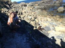 Posing with the fur seals.