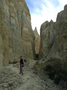 Hiking in a sandstone spire adventure