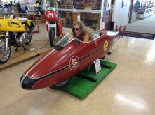 We went and saw the original bike in Invercargil, NZ. This is Lindsay in a replica!