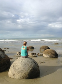 Lindsay contemplating life on a big atlas stone.