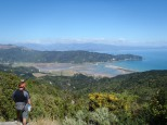 Looking down at Golden Bay from the Able Tasman hike