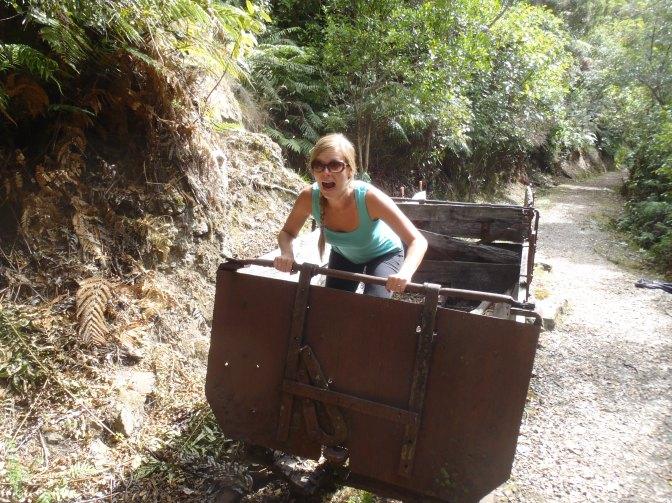 Lindsay riding an uncontrollable coal car...