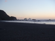Sunset looking back at the big rocks. Sunset, Low Tide and Clear Skies on the West Coast of NZ was an awesome experience.