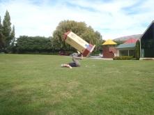 Posing at the Puzzling World in Wanaka