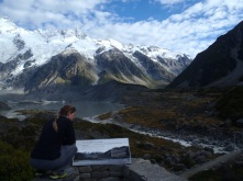 Hiking out towards the glacial lake below Mt Cook