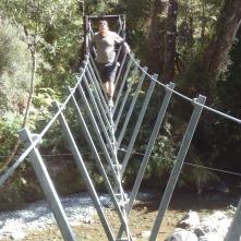 A very rare three rope bridge.