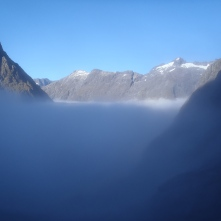 Breaking the cloud on the Gertrude Saddle hike