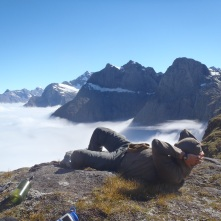 Clay relaxing with one of the prettiest views on Earth!