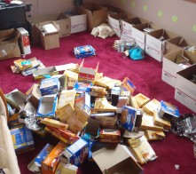 The aftermath of putting 450 Powerbars, 300 poptarts and many more into individual boxes