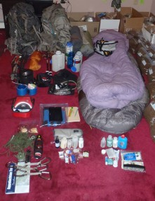 Our starting gear layout for the Appalachian Trail