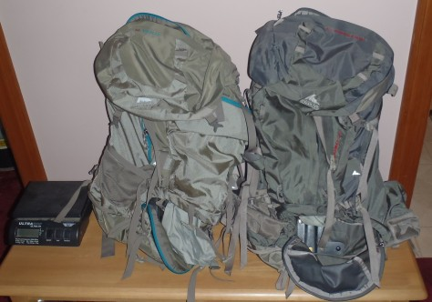 Our two backpacks and the all-important scale.