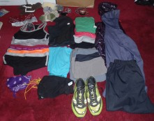 Lindsays clothing layout for the start of the Appalachian Trail
