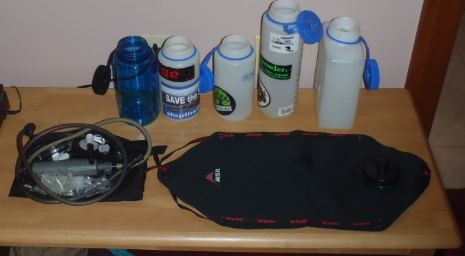 Water filter and bottles, most of it is a homemade kit.