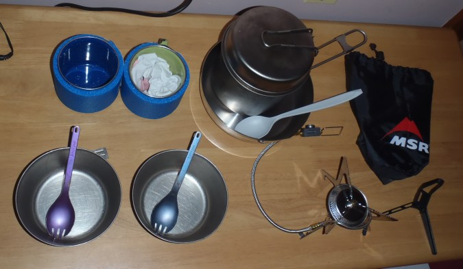 Cookware, stove, bowls, etc. All titanium and heavy duty.