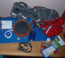 Hunters equipment for his Appalachian Trail Hike