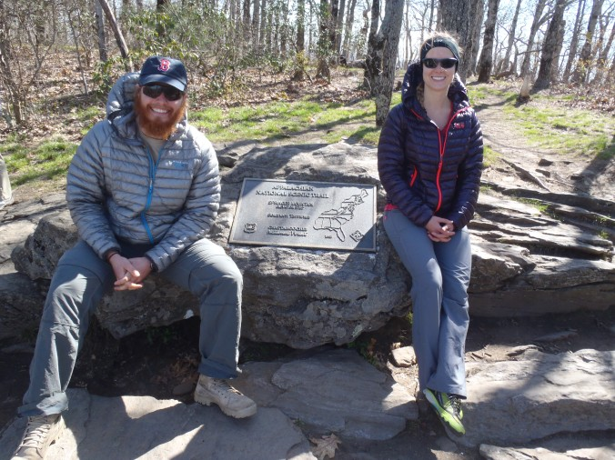 Clay and Lindsay at mile 0.0. Springer Mountain, GA