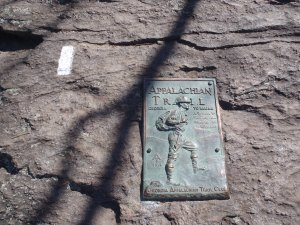 The first white blaze on the Appalachian Trail