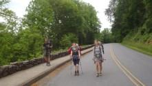 Lindsay, 'Chubby Bunny' and 'Rogan' walking towards Fontana Dam