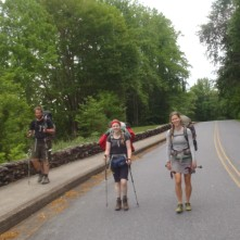 Lindsay, 'Chubby Bunny' and 'Rogan' walking towards Fontana Dam