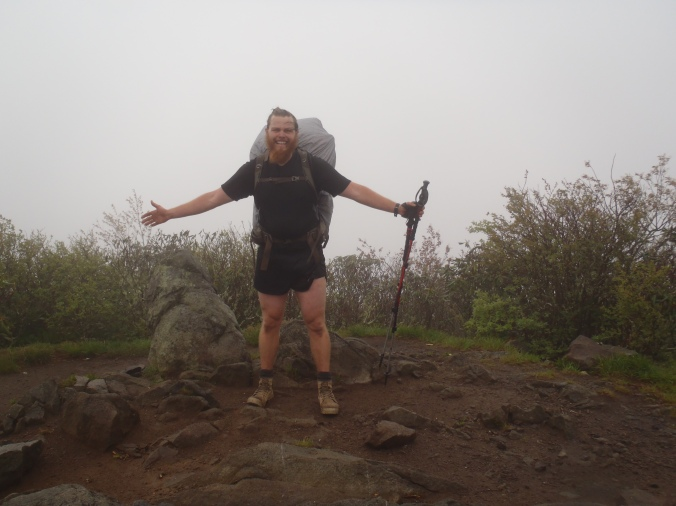 Clay posing on Rocky Bald, one of the famous viewpoints in the Smokies. It was raining.