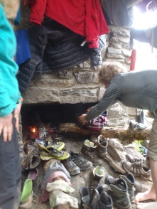 Drying out our 12 hiker's gear by camp fire in the Smokies