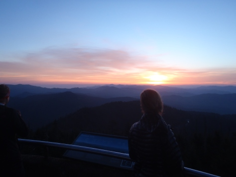 Lindsay watching the sunrise at Clingman's Dome