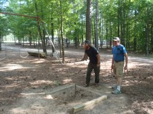 Clay and his dad playing horseshoes and a NC campground during the recovery time.