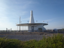 Supposedly this is an FAA navigation tower. Looks like a UFO space ship to me.