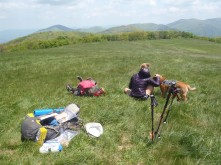 Hunter and Lindsay, hanging out on Max Patch