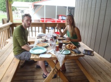 Lindsay and George, our new hiking buddy, eating breakfast in Hot Springs