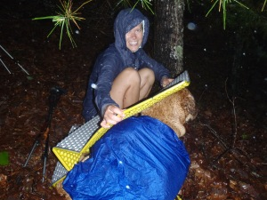 Lindsay covering Hunter in during the hail storm