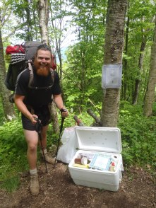 Clay posing with the trail magic cooler. Yay!