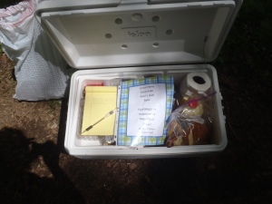 The note and journal left in the trail magic cooler.